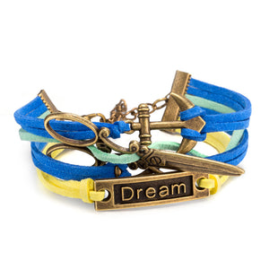 Boat Anchor Punk Alloy Scissors And Dream lettering Copper Multi-layer Weaved Leather Bracelet