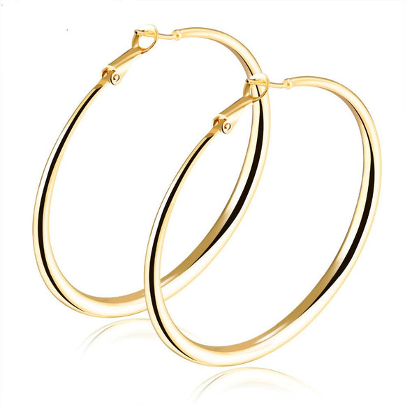Women's Big Circle Charm Gold Color Copper Earrings