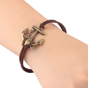 Nostalgia Leather Anchor Charm Bracelet