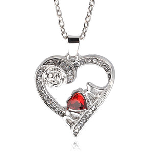 Fashion Love Jewelry Necklace White Crystal Rose Heart Pendant