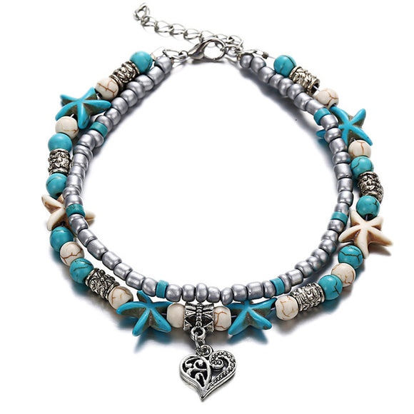 Fashion Sea Turtles Imitation Pearls Starfish Charms Bracelets Anklets For Women Bohemian Foot Chain Jewelry