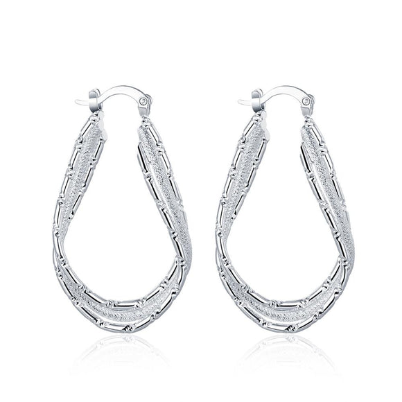Diamond Cut Inception Hoop Drop Earring in Plated White Gold