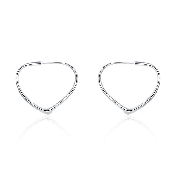 Heart Hoops Earring in White Gold Plated
