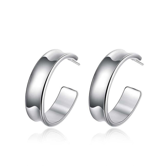 Hoop Half Stud Earring in White Gold Plated