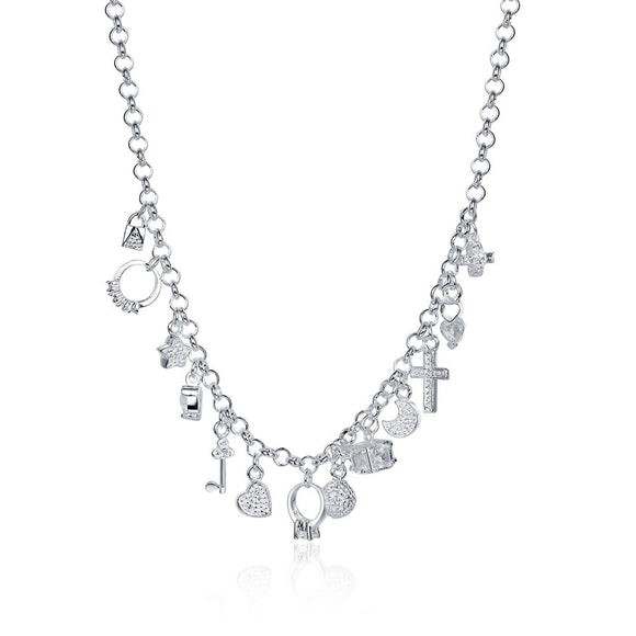 Swarovski Crystal Charms Necklace in 18K White Gold Plated
