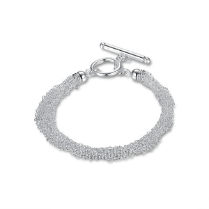 Link Chains Bracelet in 18K Plated White Gold