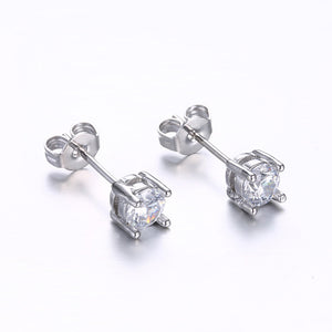 18K White Gold Plated Classic Simulated Diamond Earrings