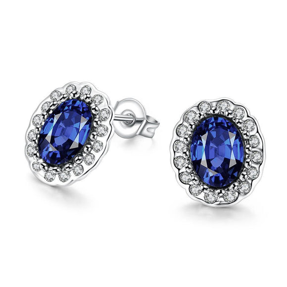 White Gold Plated Sapphire Stud Earrings