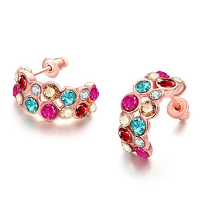 Rainbow Studded 18K Rose Gold Plated Earrings