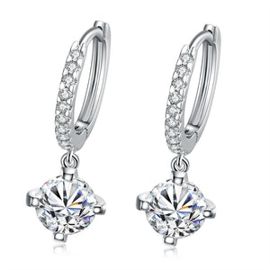 Classic 18K White Gold Plated Drop Earrings