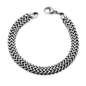 Trio-Cut Thick Stainless Steel Bracelet