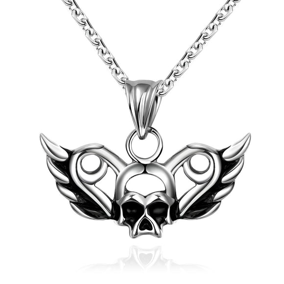 Flying Skull Emblem Stainless Steel Necklace