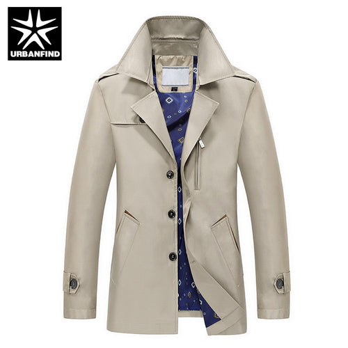 9fe19404508 URBANFIND 2016 New Style Men Trench Coats Size M-4XL Man Leisure Coats  Solid Color