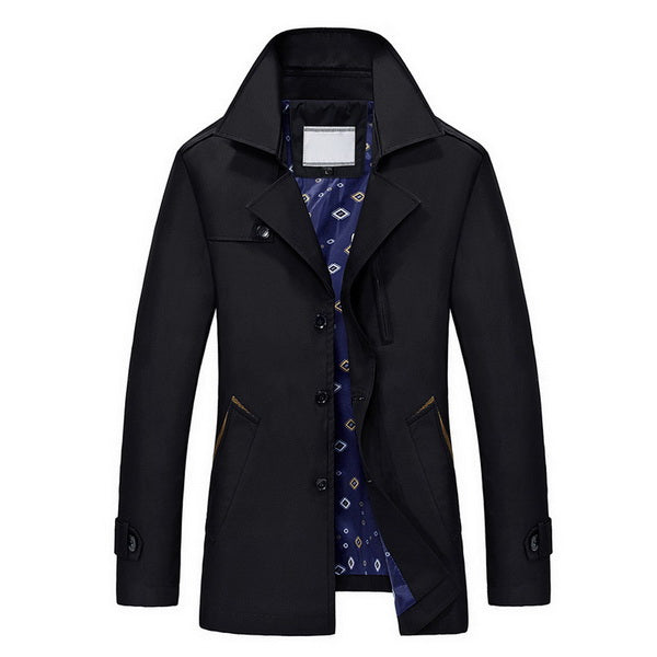URBANFIND 2016 New Style Men Trench Coats Size M-4XL Man Leisure Coats Solid Color Male Slim Jackets Fit Spring Autumn Winter