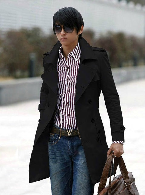 Free Shipping New Men's Stylish Double Breasted Long Trench Coat Men Overcoat Winter Long Jacket For Men Plus Size M~XXXL