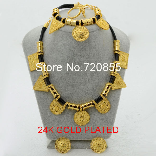 Eritrean Habesha Ethiopian set Jewelry Necklace, Bracelet, Earring Ring, Jewelry Gold, for Women