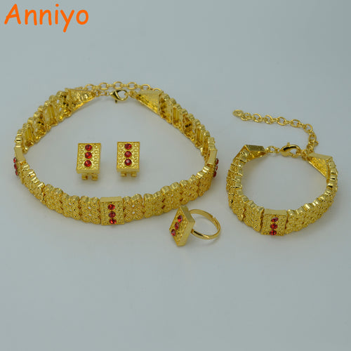 Gold Color Ethiopian Jewelry sets Chokers Necklace/Earrings/Ring/Bracelet Eritrea Habesha women