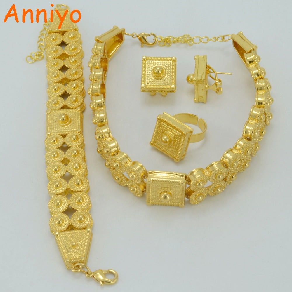 9a0611a17c024 Anniyo Ethiopian Jewelry set Gold Color Chokers  Necklace/Bracelet/Earrings/Ring for Women,Eritrea Habesha African #051206