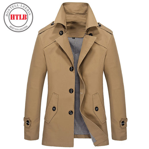 9db9b71a95d Brand classic Fashion Casual Business Men s Trench coat England England  Single-breasted long pea coat