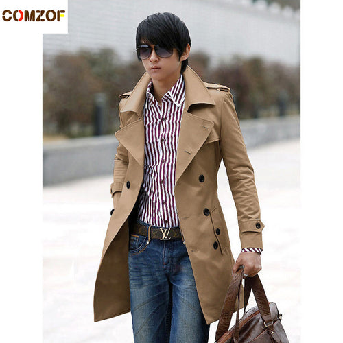 cb95e293af5 Free Shipping New Men s Stylish Double Breasted Long Trench Coat Men  Overcoat Winter Long Jacket For