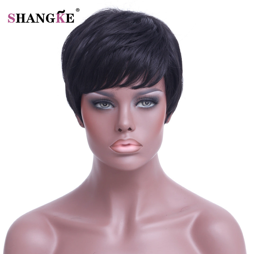 አዝዩ ግሩም ባሩካ (Short Black Wigs Women Natural Straight Synthetic Wigs For Black Women)