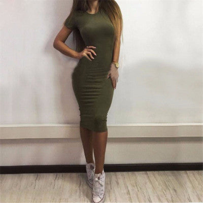 2017 New Ladies Women Short Sleeve Slim Dress