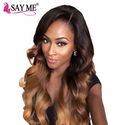 አዝዩ ብሉጽ ናይ ሁማን ሀር ብርታዊ ዋጋ SAY ME Malaysian Body Wave 1b/4/30 Non Remy Ombre Human Hair Weave Bundles Auburn 1 Piece Light Brown Hair Weft 3 Three Tone