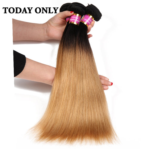 "አዝዩ ብሉጽ ናይ ብራዚል ሁማን ሀር ብርታዊ ዋጋ Today Only Blonde Ombre Brazilian Straight Hair Weave Bundles 1b 27 Two Tone Human Hair Bundles Non Remy Hair Extensions 8""-26"""