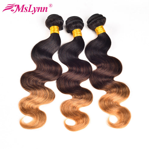 አዝዩ ብሉጽ ሁማን ሀር ብርታዊ ዋጋ  (T1B/4/27 Ombre Brazilian Hair Weave Bundles Body Wave Hair 3 Tone Black Brown Blonde Human Hair Bundles Mslynn Non Remy Hair 1PC