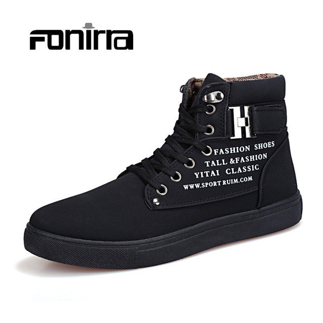 New 2017 Autumn Retro Style Men's Casual Shoes Solid Vintage Low Boots