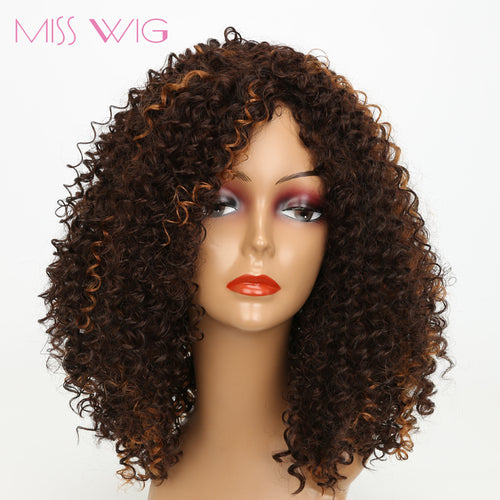 አዝዩ ግሩም ባሩካ (Long Dark Brown Mixed Blonde White African Kinky Curly Short Wigs For Women 300g Afro Hair Synthetic Wigs)