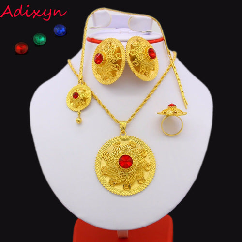 2017 Ethiopian Jewelry set 24K Gold Color Crystal Necklace/Pendant/Hair Chain/Earring/Ring Middle Easter Women Habesha Wedding set