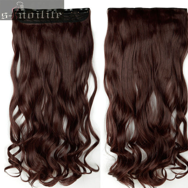 "S-noilite 18-28"" Curly 3/4 Full Head Clip in Hair Extensions Black Brown Blonde Real Natural Synthetic One Piece for human"
