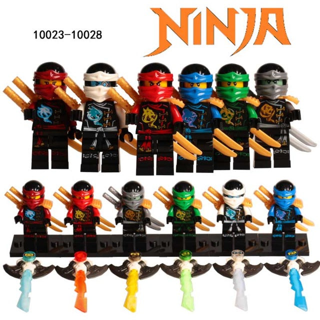 Hot Building Blocks Compatible with LegoINGlys Ninjagoes Sets Bricks Kai Jay Cole Zane Nya Lloyd Weapon Action Toy for Kids
