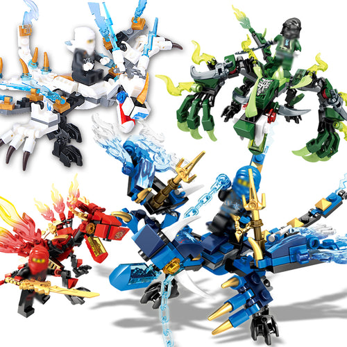4pcs/set Ninjagoes dragon knight building blocks ninja bricks mini action figures enlighten toys for children Compatible Legoing