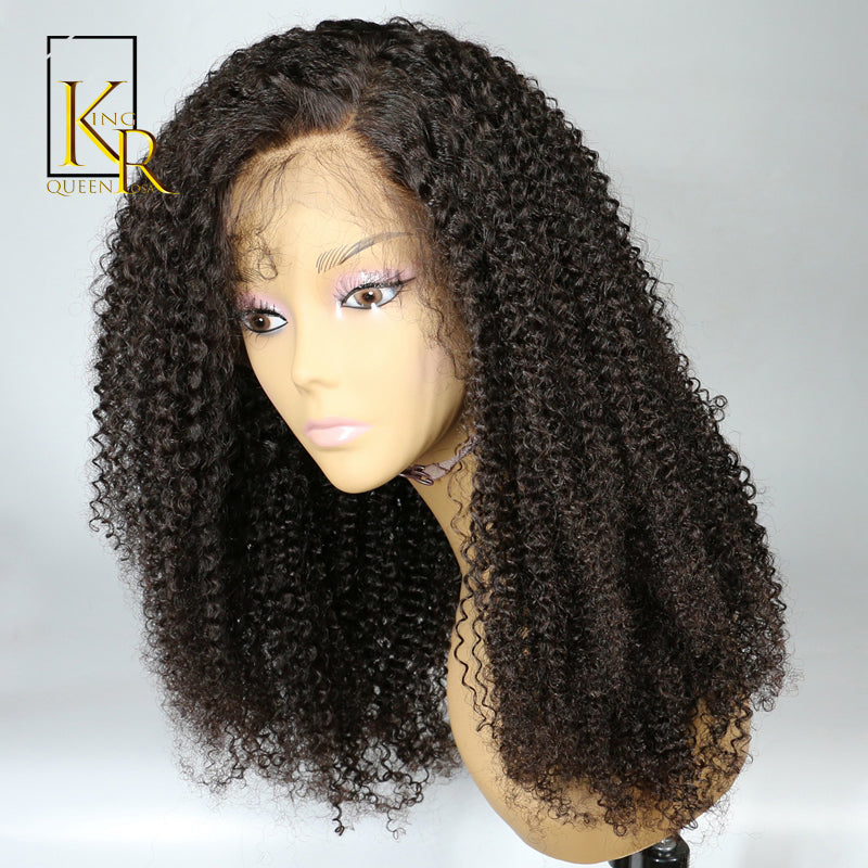 Lace Front Human Hair Wigs For Women Brazilian Afro Kinky Curly Wig Black Remy Hair Pre Plucked Bleached Knots King Rosa Queen