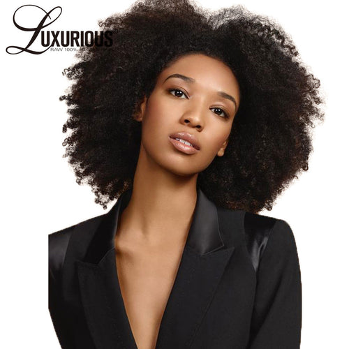 Luxurious Short Human Hair Wigs For Women Brazilian Remy Human Hair Thick Afro Kinky Curly Wig 6-14Inch Natural Color