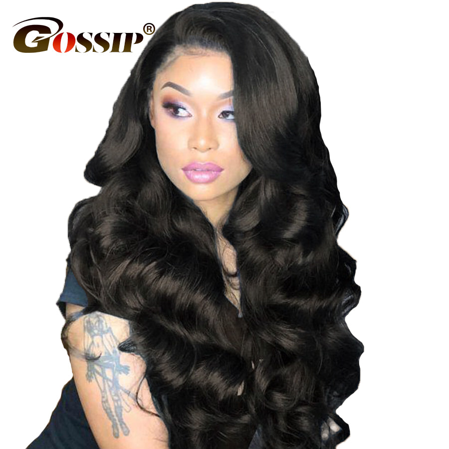 Human Hair Lace Wigs Brazilian Body Wave 360 Lace Frontal Wig Pre Plucked With Baby Hair Non Remy 360 Full Lace Human Hair Wigs For Women Black Color