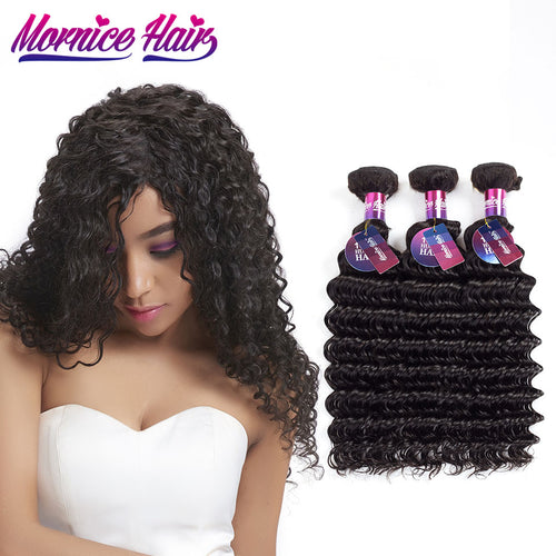 አዝዩ ብሉጽ ናይ ብራዚል ሁማን ሀር ብርታዊ ዋጋ (Mornice 3Pcs/Lot Brazilian Deep Wave Hair Extension 100% Human Hair Weave 3 Bundles Natural Color Non Remy Human Hair Bundles