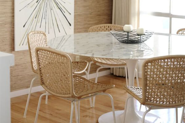 Statuario Venato Calacatta Quartzite Tulip Dining Table - Round
