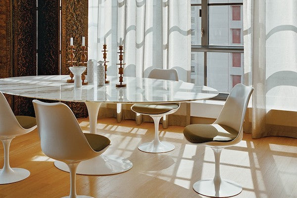 White Carrara Marble Tulip Dining Table - Oval