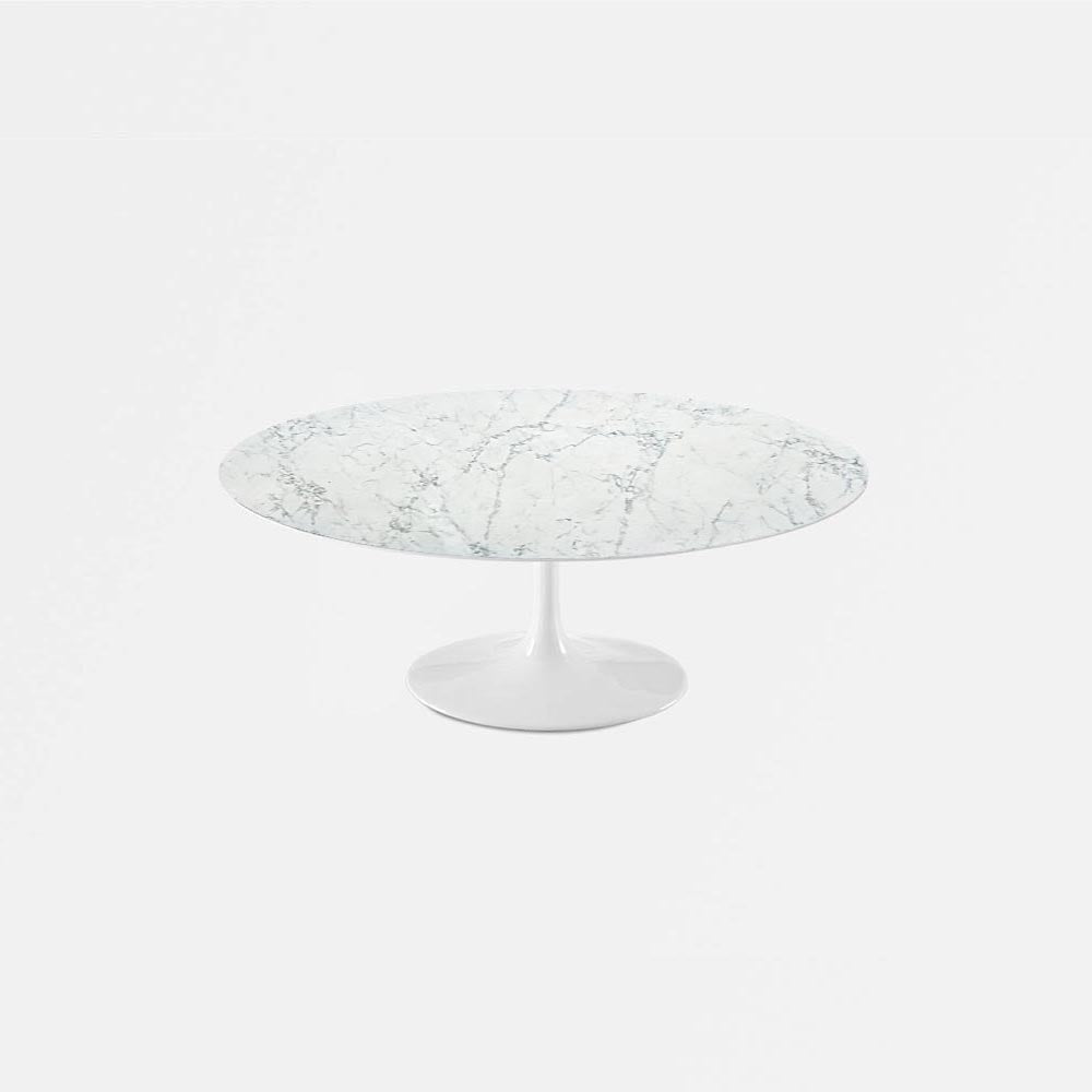 White Carrara Marble Tulip Coffee Table   Oval