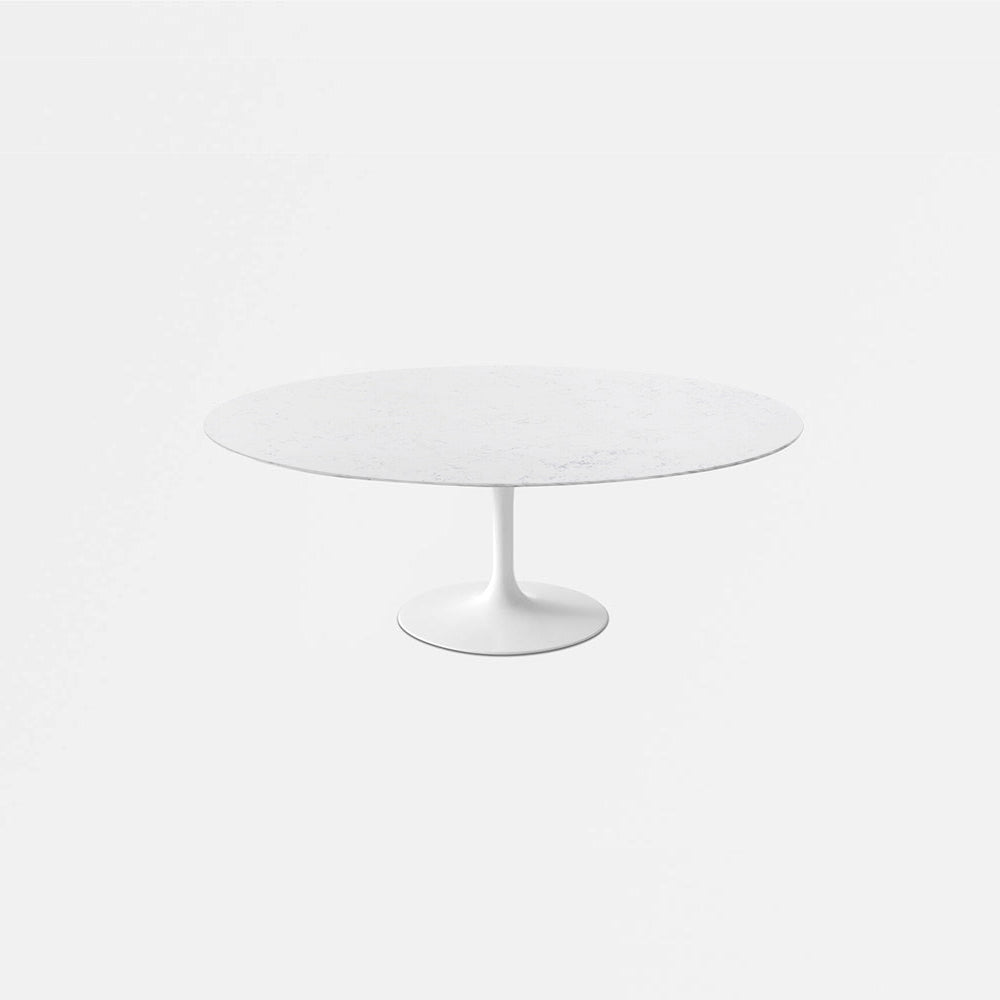 Bianca Neve Calacatta Quartz Tulip Dining Table - Oval
