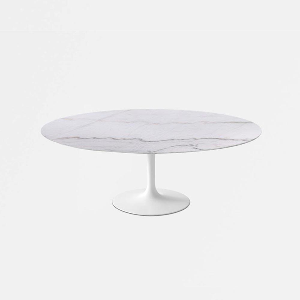 Calacatta Gold Marble Tulip Dining Table   Oval