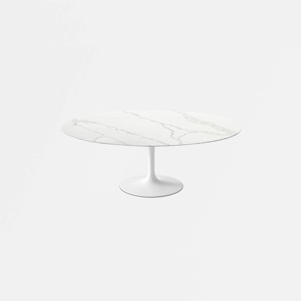 Carrara Nuvo Calacatta Quartz Tulip Dining Table - Oval