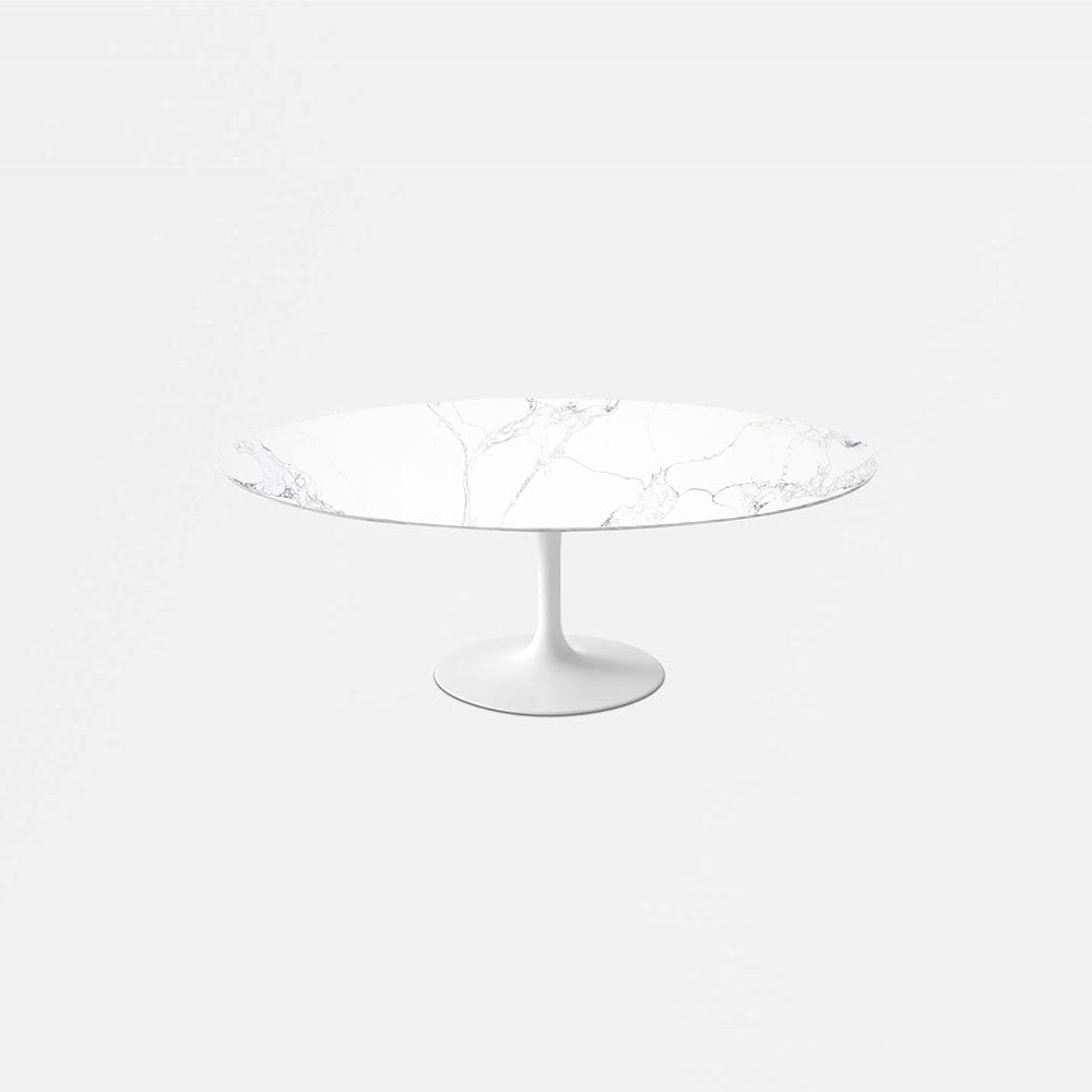 Statuario Venato Calacatta Quartz Tulip Dining Table - Oval