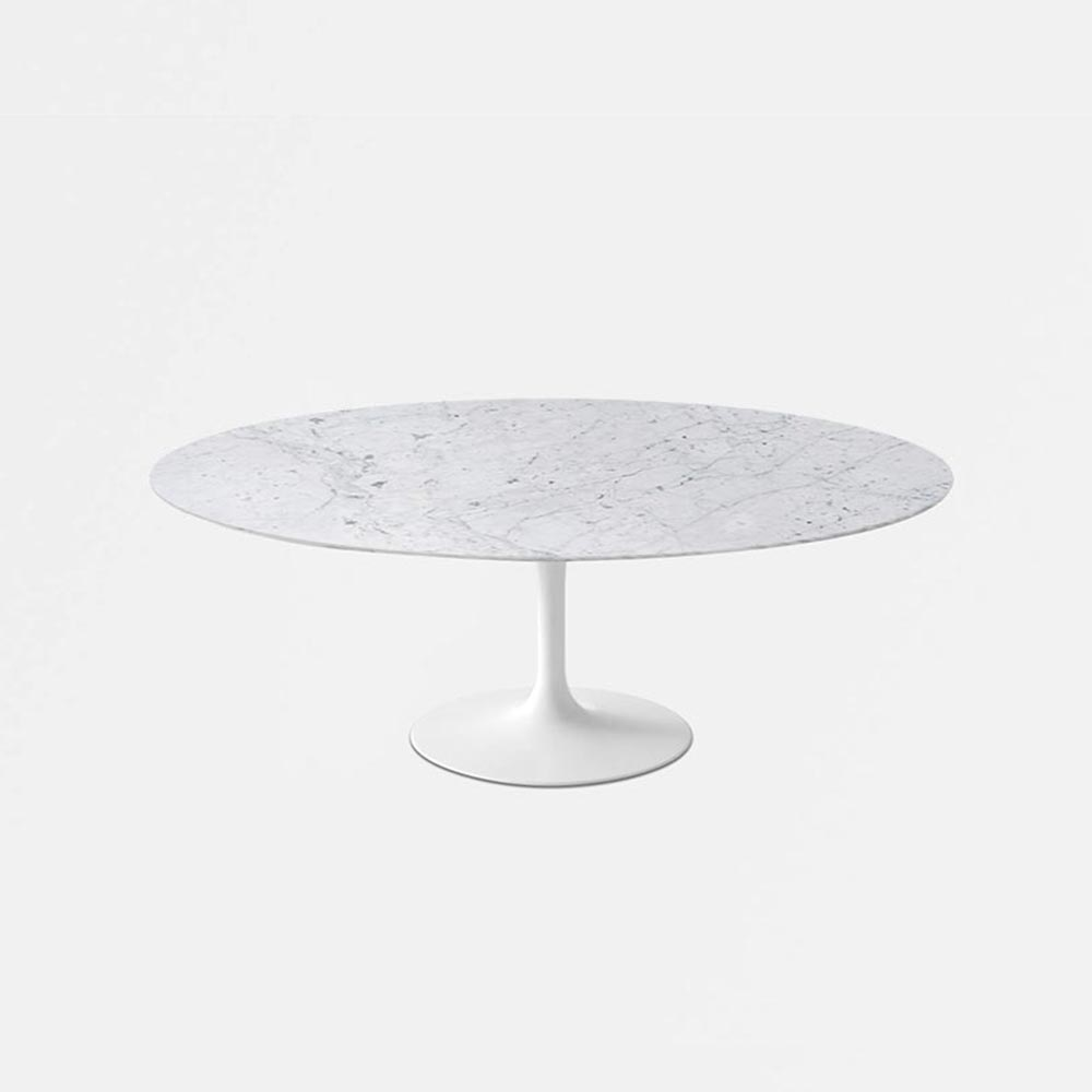 White Carrara Marble Tulip Dining Table   Oval