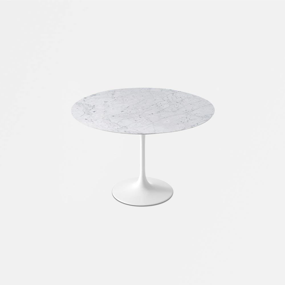 White Carrara Marble Tulip Dining Table - Round