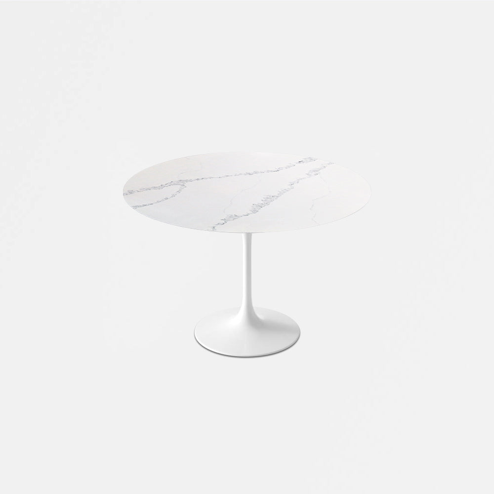 Carrara Nuvo Calacatta Quartz Tulip Dining Table - Round