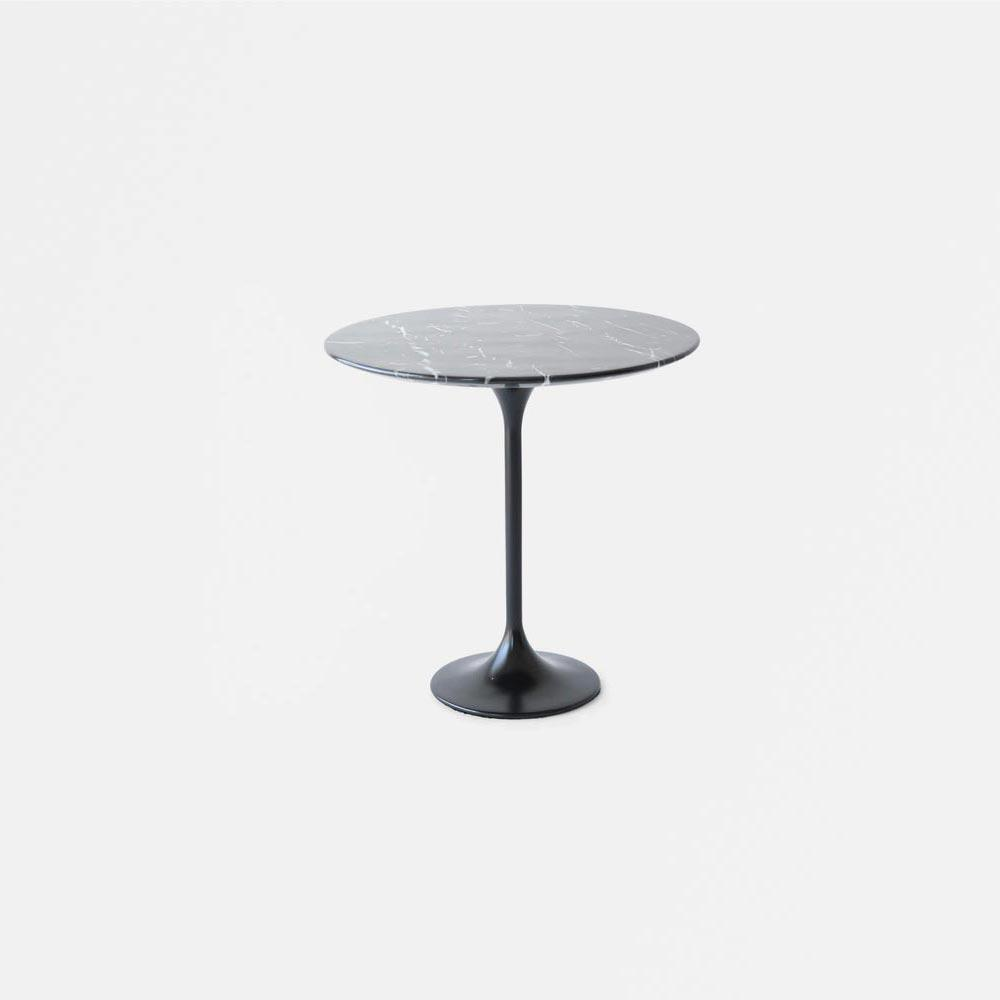 Black Carrara Marble Tulip Side Table - Round